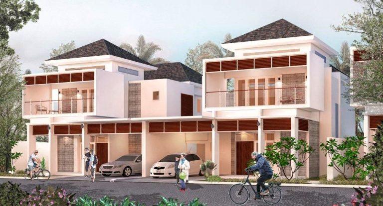 rumah the villas dengan dua orang tua lansia dan mobil parkir